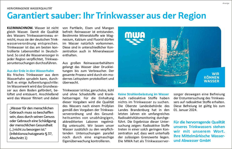 Anzeige MWA Regional Rundschau KW 08